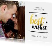 Kerstkaarten - Kerstkaart - best wishes met glitter en gouden letters