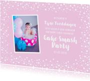 Kerstkaart kinderfeestje uitnodiging roze sterren foto