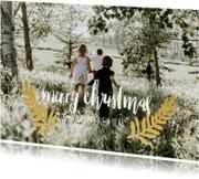 Kerstkaarten - Kerstkaart label blaadjes -HM
