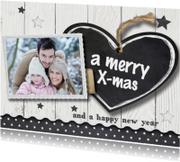 Kerstkaarten - Kerstkaart modern met krijtbord hart