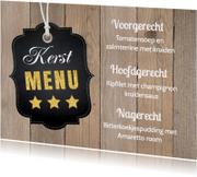 Kerstmenukaart houtprint label - LB