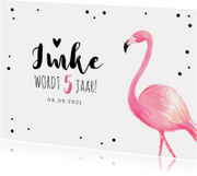 Kinderfeest uitnodiging meisje hip met flamingo