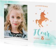 Kinderfeest uitnodiging stijlvol met eenhoorn en eigen foto