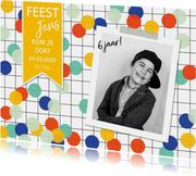 Kinderfeestjes - Kinderfeestje jongen confetti fotokaart