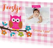 Kinderfeestje uiltje roze meisje foto