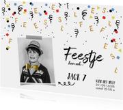 Kinderfeestjes - Kinderfeestje uitnodiging confetti goud feest