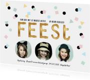 Kinderfeestje uitnodiging goud feest confetti