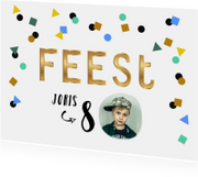 Kinderfeestje uitnodiging hip vrolijk stoer confetti