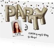 Kinderfeestje uitnodiging  zilver PARTY leeftijd