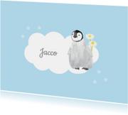 Kinderrouwkaart jongen pinguin