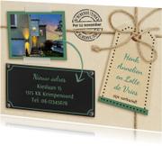 Leuke verhuiskaart met touw op karton en eigen foto