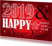 Nieuwjaarskaart rechthoekig typografie rood 2019