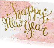 Nieuwjaarskaart tekst aquarel glitter