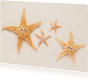 Felicitatiekaarten - Ouders en kindjes - zeesterren op strand