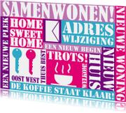 Verhuiskaarten - Samenwonen tekstkaart