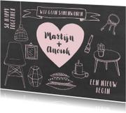 Samenwonenkaart hip krijtbord illustraties