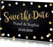 Save the Date krijtbord confetti goud
