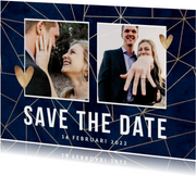 Trouwkaart save the date goud geometrisch foto