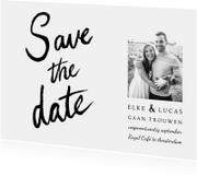 Trouwkaart save the date klassiek en stijlvol handlettering