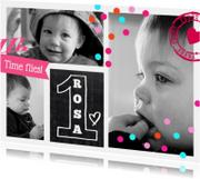 Uitnodiging Collage 1 jaar girl