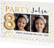 Uitnodiging kinderfeestje foto goud confetti ballon