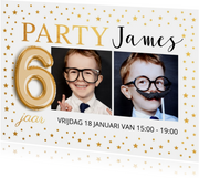 Uitnodiging kinderfeestje foto goud confetti