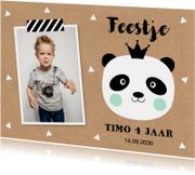 Uitnodiging kinderfeestje jongen foto panda