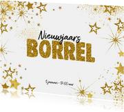 Nieuwjaarskaarten - Uitnodiging (nieuwjaars) borrel feestelijke kaart sterren