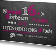 Uitnodigingen - uitnodiging sweet 16 krijtbord