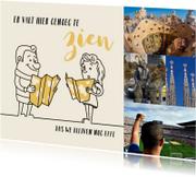 Vakantiekaarten - Vakantie cartoon echtpaar met toeristische kaarten