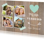 Verhuiskaart fotocollage houtlook