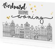 Verhuiskaart huisjes handlettering