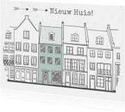 Verhuiskaart huisjes met kleur