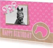 Verjaardagskaarten - Verjaardag roze paardje