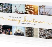 Zakelijke kerstkaart met sierlijke letters en foto's