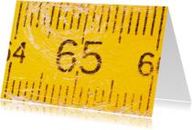 Verjaardagskaarten - 65 jaar op gele duimstok