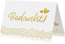 Bedankkaartje huwelijk wit met gouden stippen
