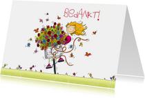 Bedankkaartjes - Bedankt bos bloemen op de fiets