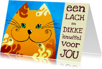 Beterschapskaarten - Beterschapskaart knuffel kat