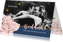 Trouwkaarten - Bijzonder bedankkaartje in navyblue, roos en goud met foto