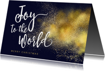 Christelijke kerstkaart Joy to the World goud