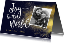 Christelijke kerstkaart Joy to the World met foto