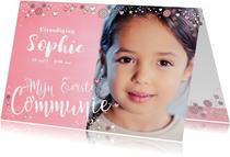 Communiekaarten - Communie roze fotokaart met bloemen hartjes en sterren
