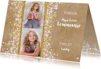 Communie stijlvolle uitnodiging hartjes bloemen sterren