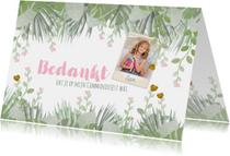 Communie trendy foto bedank kaart botanische stijl