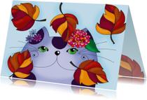 Dierenkaart Kat in de herfst  - SK