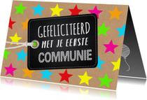 Felicitatie communie gekleurde sterren kraft labelprint