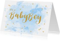 Felicitatiekaarten - Felicitatie geboorte aquarel hartjes lichtblauw