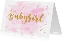 Felicitatiekaarten - Felicitatie geboorte meisje aquarel hartjes roze
