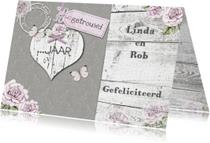 Felicitatie houten hart vlinders